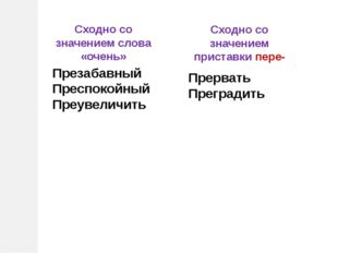 Сходно со значением слова «очень» Сходно со значением приставки пере- Презаба