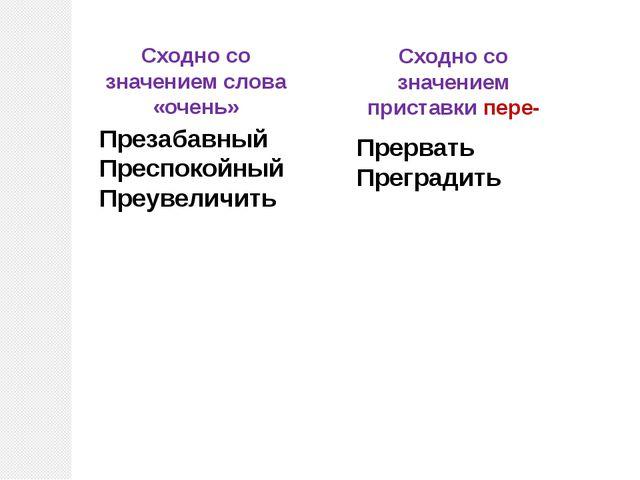 Сходно со значением слова «очень» Сходно со значением приставки пере- Презаба...