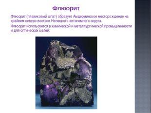 Флюорит (плавиковый шпат) образует Амдерминское месторождение на крайнем сев
