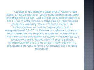 Одними из крупнейших в европейской части России являются Пермиловское и Тун