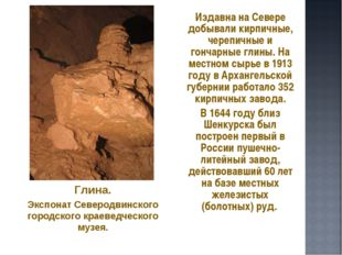 Издавна на Севере добывали кирпичные, черепичные и гончарные глины. На местн