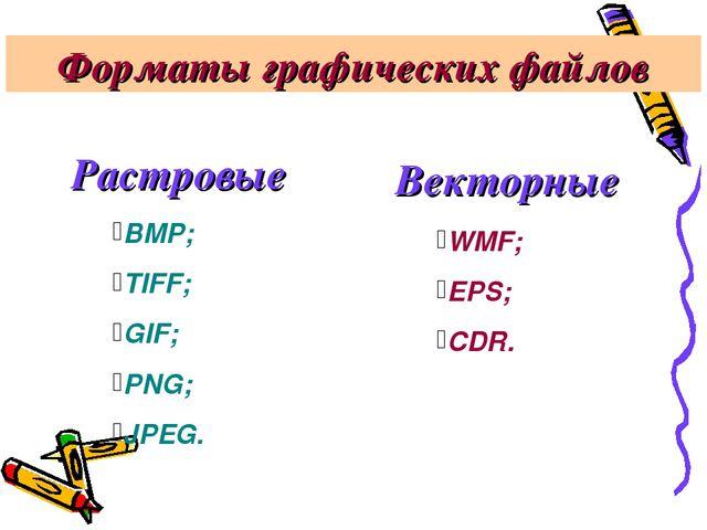 Форматы графических файлов Растровые Векторные BMP; TIFF; GIF; PNG; JPEG. WMF...