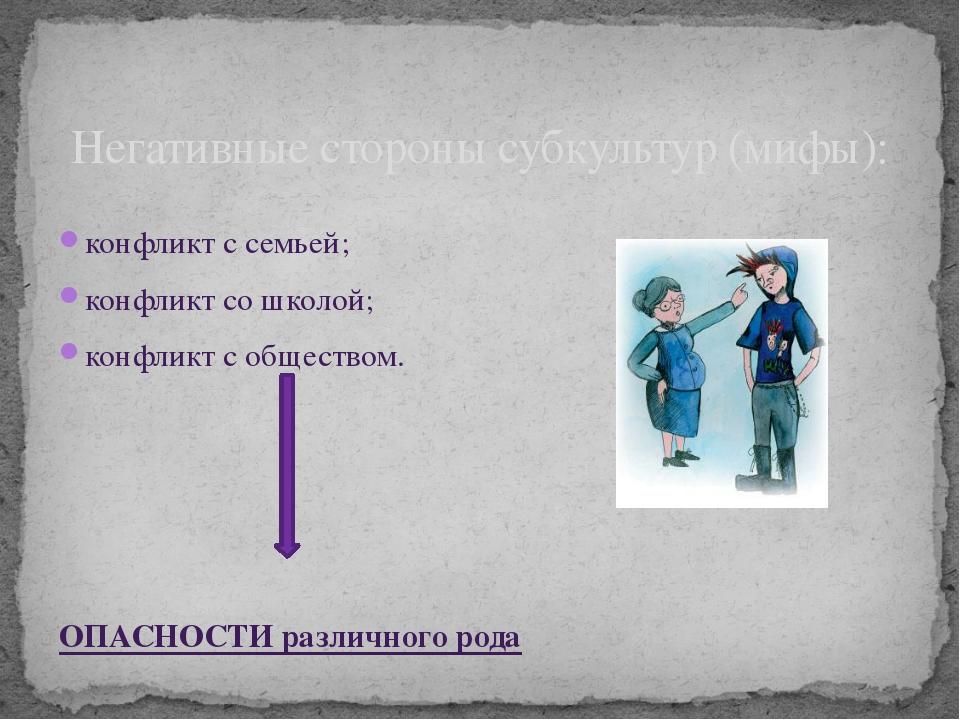 конфликт с семьей; конфликт со школой; конфликт с обществом. ОПАСНОСТИ различ...
