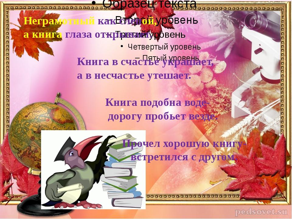 Неграмотный как слепой, а книга глаза открывает. Книга в счастье украшает, а...