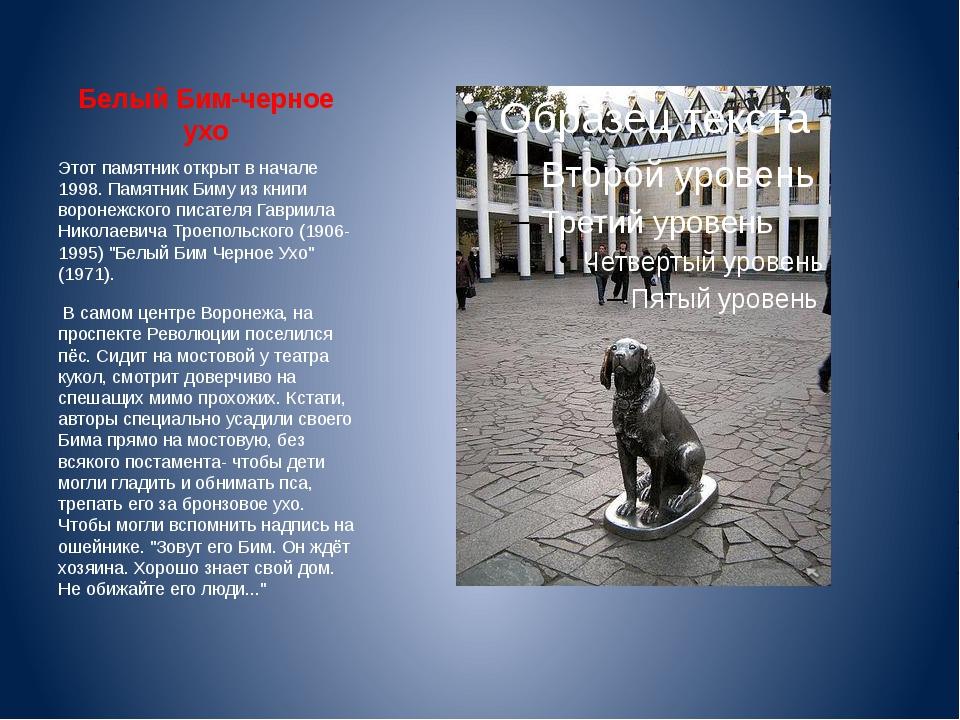 Белый Бим-черное ухо Этот памятник открыт в начале 1998. Памятник Биму из кни...