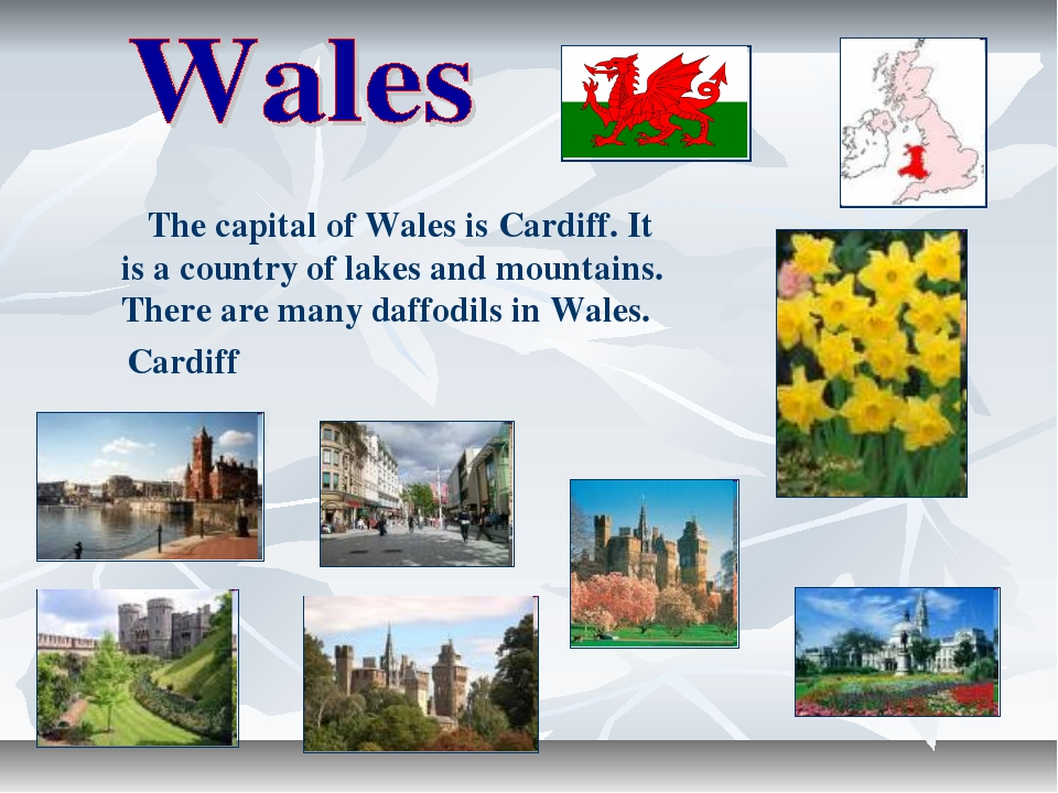 The capital of Wales is Cardiff. It is a country of lakes and mountains. The...