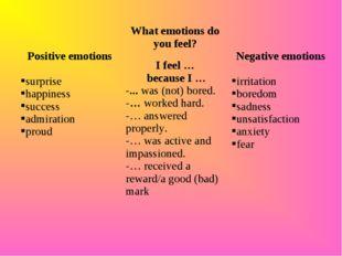 Positive emotions surprise happiness success admiration proudWhat emotions
