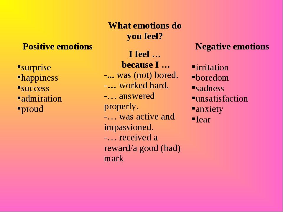 Positive emotions surprise happiness success admiration proudWhat emotions...