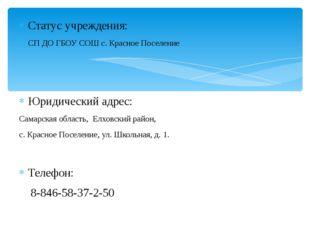 Статус учреждения: СП ДО ГБОУ СОШ с. Красное Поселение Юридический адрес: Сам