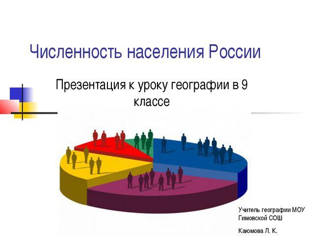 Численность населения России Презентация к уроку географии в 9 классе Учитель...