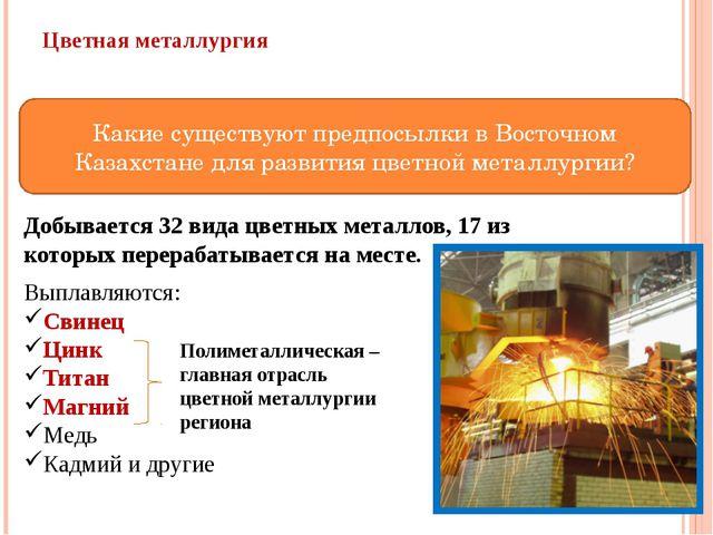 Цветная металлургия Богатые сырьевая и энергетическая базы, их близкое распол...