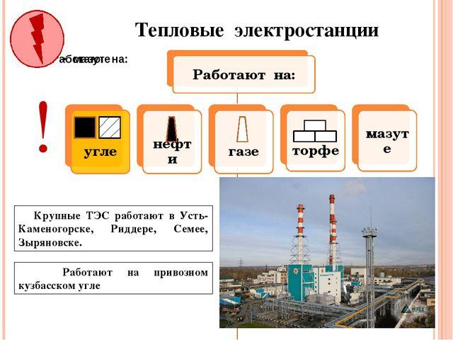 Тепловые электростанции Крупные ТЭС работают в Усть-Каменогорске, Риддере, Се...