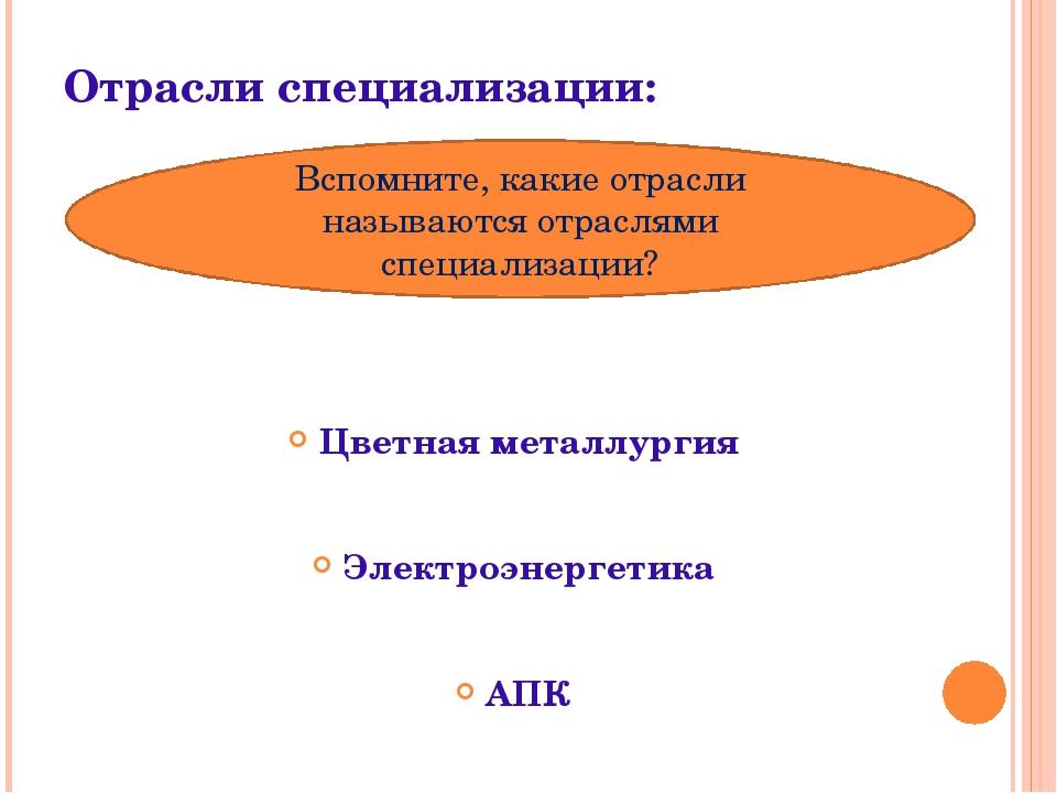 Отрасли специализации: Цветная металлургия Электроэнергетика АПК Вспомните, к...