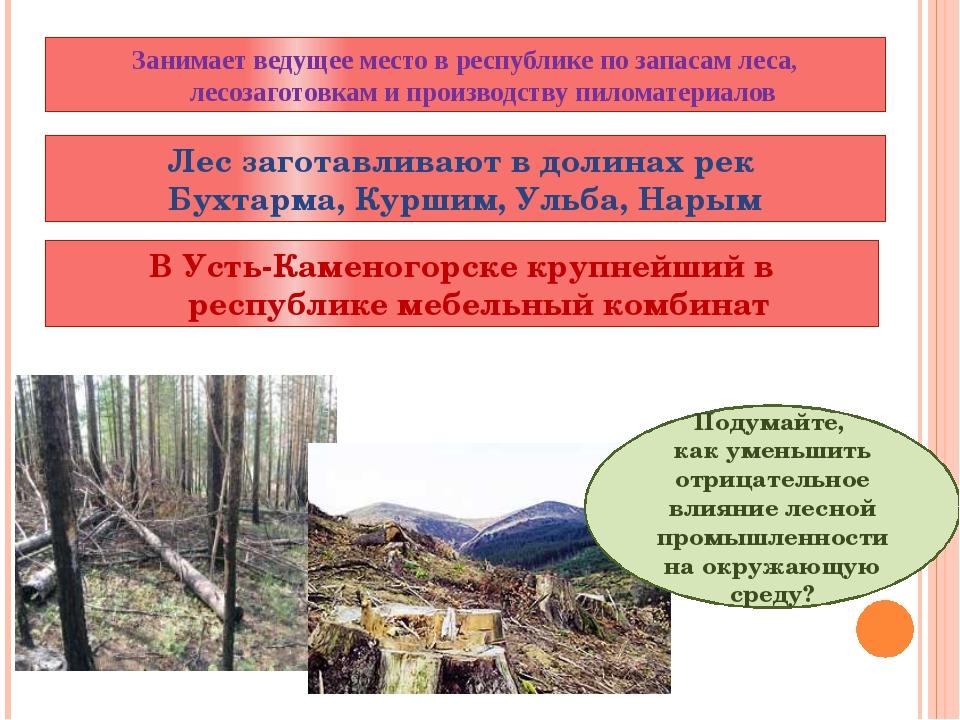 Лес заготавливают в долинах рек Бухтарма, Куршим, Ульба, Нарым Подумайте, как...