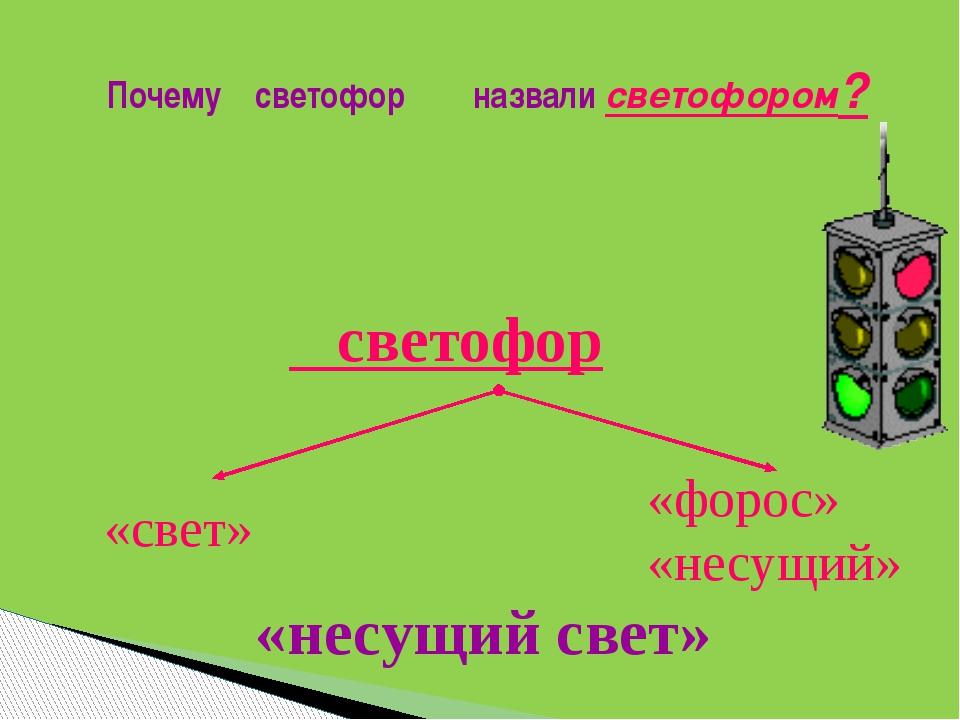 Почему светофор назвали светофором? «несущий свет» «свет» «форос» «несущий» с...
