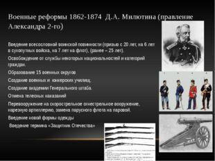 Военные реформы 1862-1874 Д.А. Милютина (правление Александра 2-го) Введение