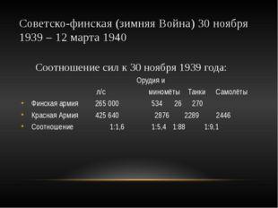 Советско-финская (зимняя Война) 30 ноября 1939 – 12 марта 1940 Соотношение си