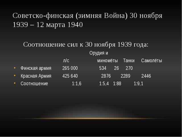 Советско-финская (зимняя Война) 30 ноября 1939 – 12 марта 1940 Соотношение си...