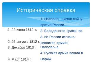 Историческая справка 1. 22 июня 1812 г. 2. 26 августа 1812 г. 3. Декабрь 1813