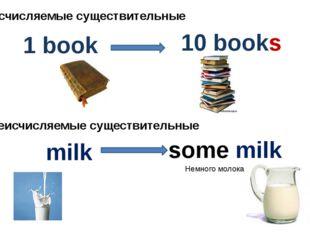 Исчисляемые существительные 1 book 10 books milk some milk Неисчисляемые суще