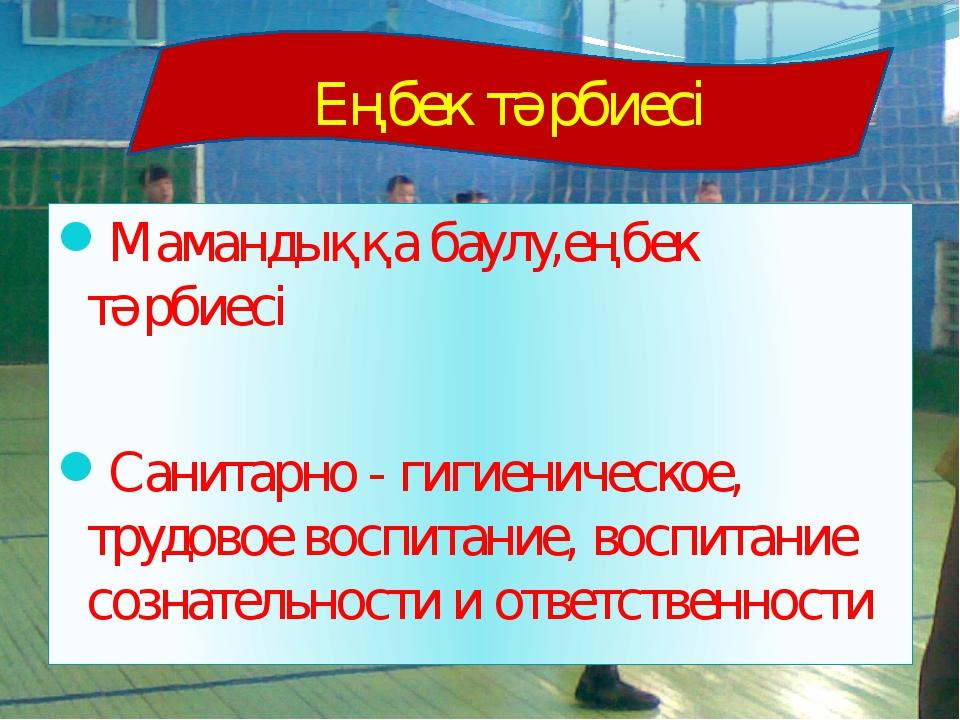 Мамандыққа баулу,еңбек тәрбиесі Санитарно - гигиеническое, трудовое воспитани...