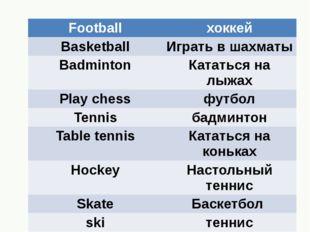 Football хоккей Basketball Играть в шахматы Badminton Кататьсяна лыжах Play c