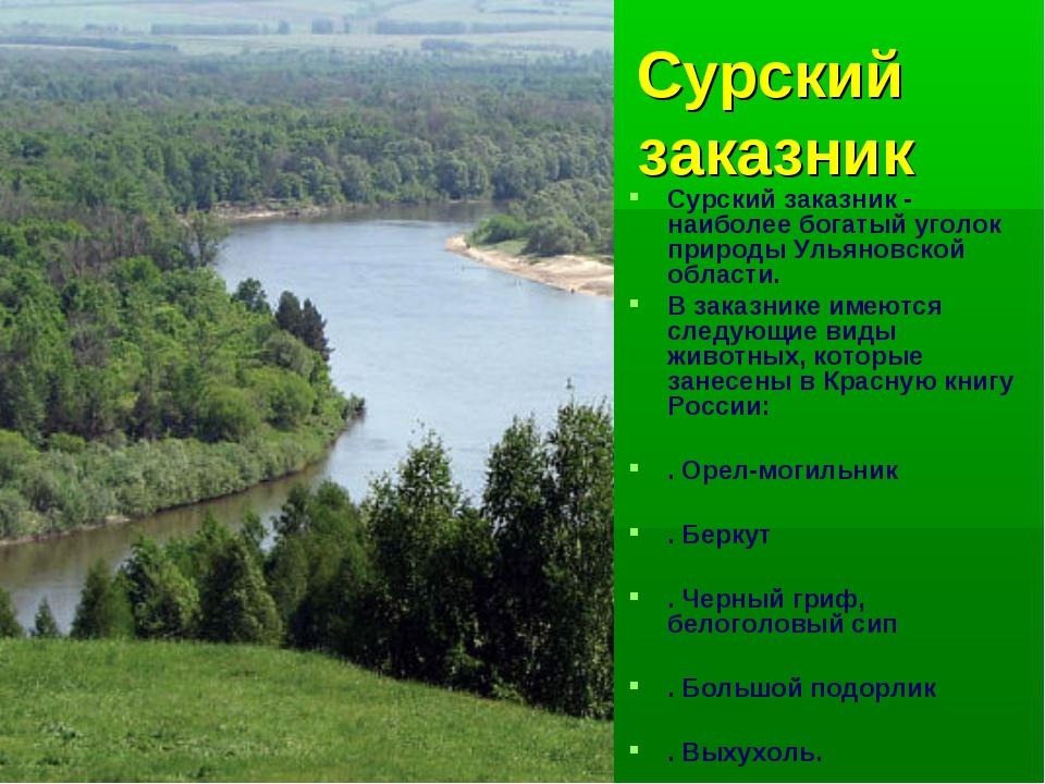 Сурский заказник Сурский заказник - наиболее богатый уголок природы Ульяновск...