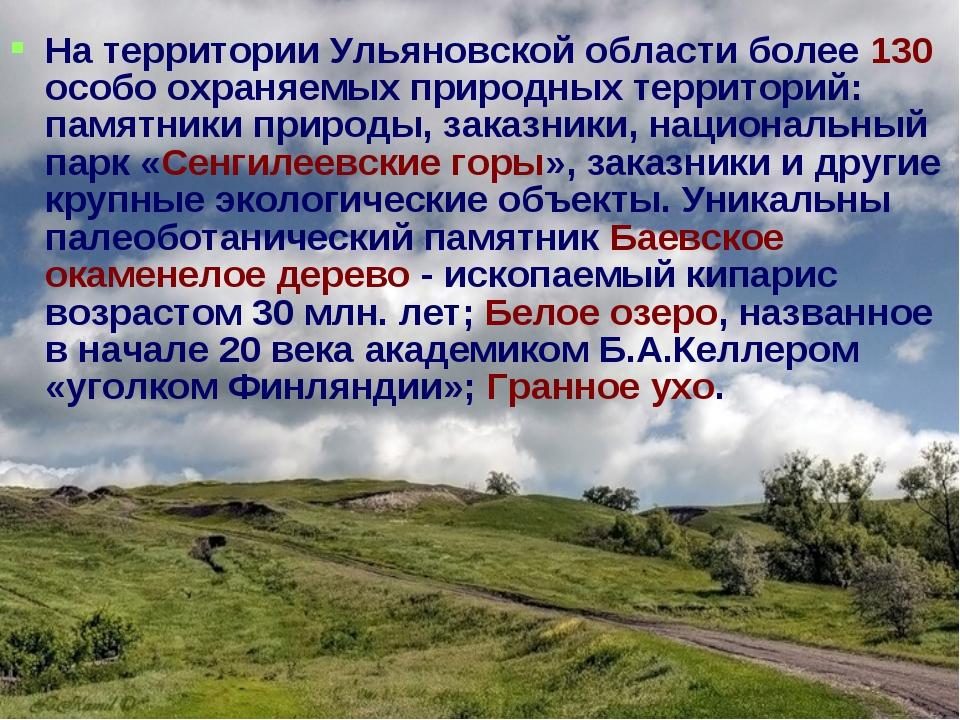 На территории Ульяновской области более 130 особо охраняемых природных террит...
