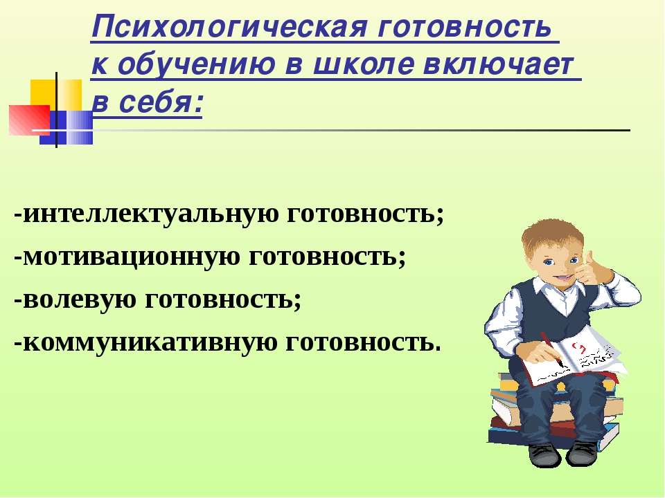 Психологическая готовность к обучению в школе включает в себя: -интеллектуаль...