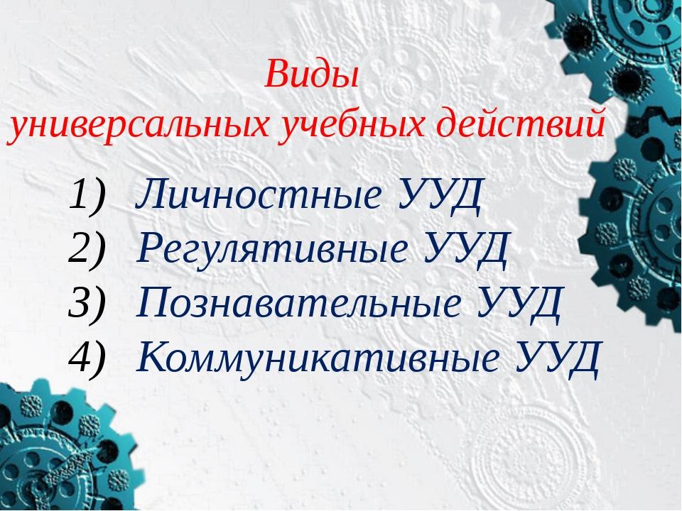 Виды универсальных учебных действий  Личностные УУД Регулятивные УУД Познава...