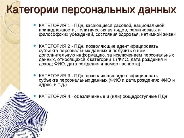 Категории персональных данных КАТЕГОРИЯ 1 - ПДн, касающиеся расовой, национал...