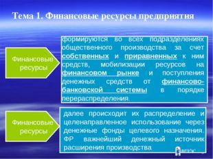 * Финансовые ресурсы Финансовые ресурсы формируются во всех подразделениях об