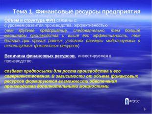 * Тема 1. Финансовые ресурсы предприятия Объем и структура ФРП связаны с: с у