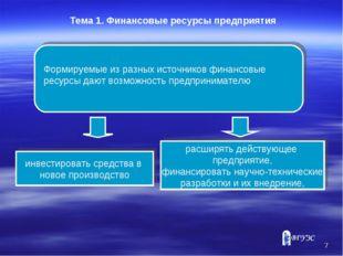* Тема 1. Финансовые ресурсы предприятия Формируемые из разных источников фин