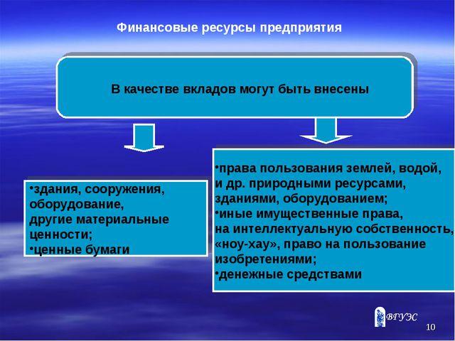 * Финансовые ресурсы предприятия В качестве вкладов могут быть внесены