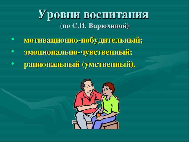 Уровни воспитания (по С.И. Варюхиной) мотивационно-побудительный; эмоциональн...
