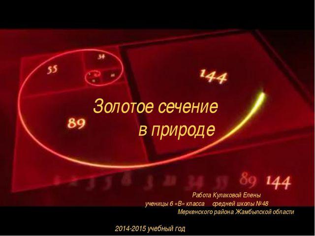 Золотое сечение в природе Работа Кулаковой Елены ученицы 6 «В» класса средней...