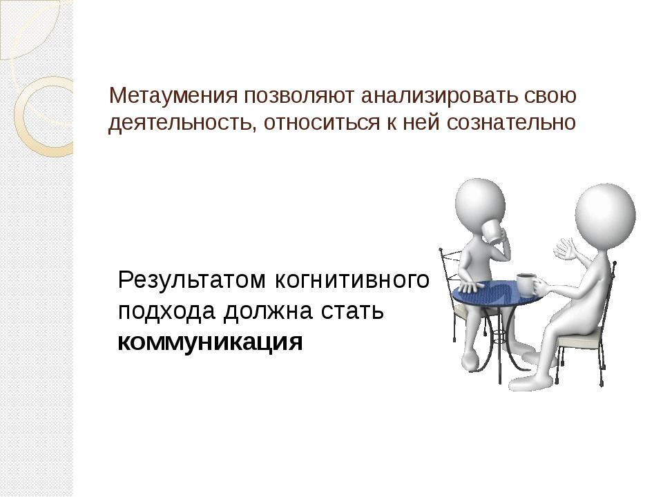Метаумения позволяют анализировать свою деятельность, относиться к ней сознат...