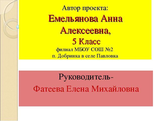 Автор проекта: Емельянова Анна Алексеевна, 5 Класс филиал МБОУ СОШ №2 п. Доб...