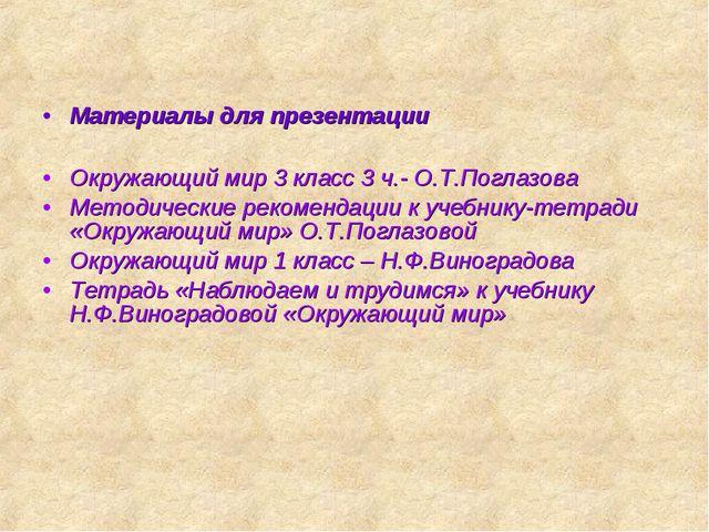 Материалы для презентации Окружающий мир 3 класс 3 ч.- О.Т.Поглазова Методиче...