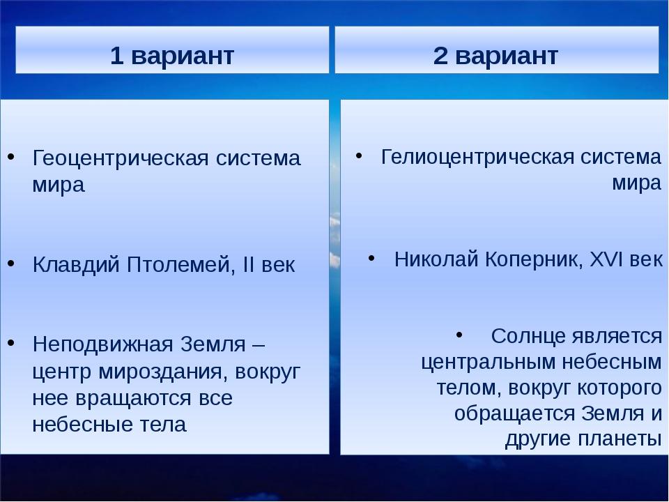 1 вариант Геоцентрическая система мира Клавдий Птолемей, II век Неподвижная З...