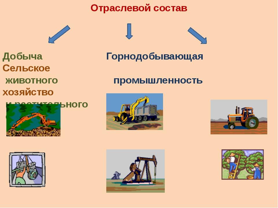 Отраслевой состав Добыча Горнодобывающая Сельское животного промышленность хо...