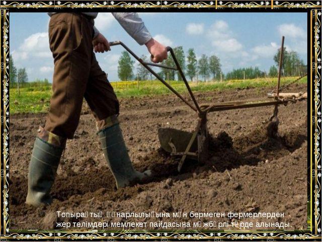 Топырақтың құнарлылығына мән бермеген фермерлерден жер телiмдерi мемлекет пай...