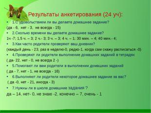 Результаты анкетирования (24 уч): 1.С удовольствием ли вы делаете домашнее за
