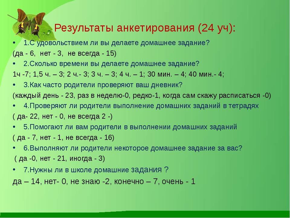 Результаты анкетирования (24 уч): 1.С удовольствием ли вы делаете домашнее за...