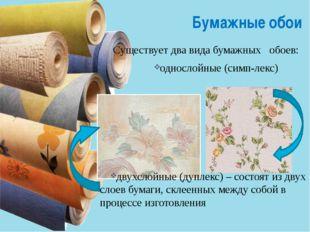 Бумажные обои Существует два вида бумажных обоев: однослойные (симп-лек