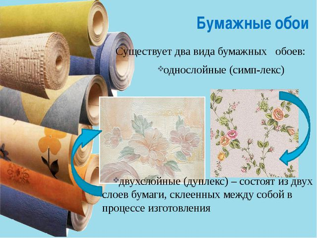 Бумажные обои Существует два вида бумажных обоев: однослойные (симп-лек...