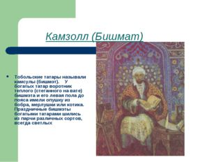 Камзолл (Бишмат) Тобольские татары называли камсулы (бишмэт). У богатых т