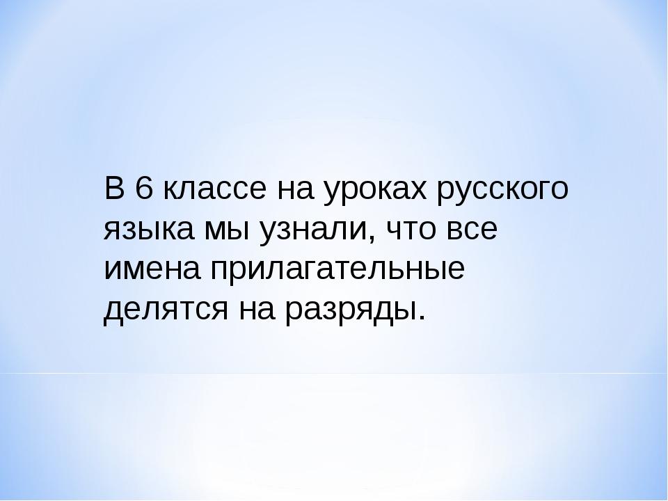 В 6 классе на уроках русского языка мы узнали, что все имена прилагательные д...