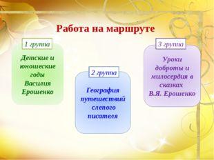 Работа на маршруте Детские и юношеские годы Василия Ерошенко 1 группа Географ